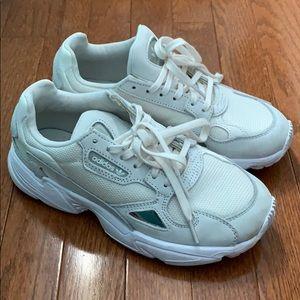 Adidas falcon shoes triple white